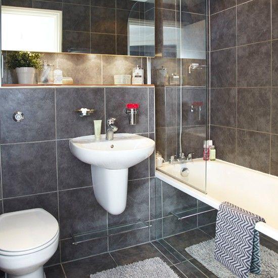 Espelho Do Banheiro, Sotão Casa De Banho, Casa De Banho Imagens, Idéias Do  Banheiro, Banheiros Cinza, Estilo Em Casa, Family Bathroom, Grey Tiles,  Toilet