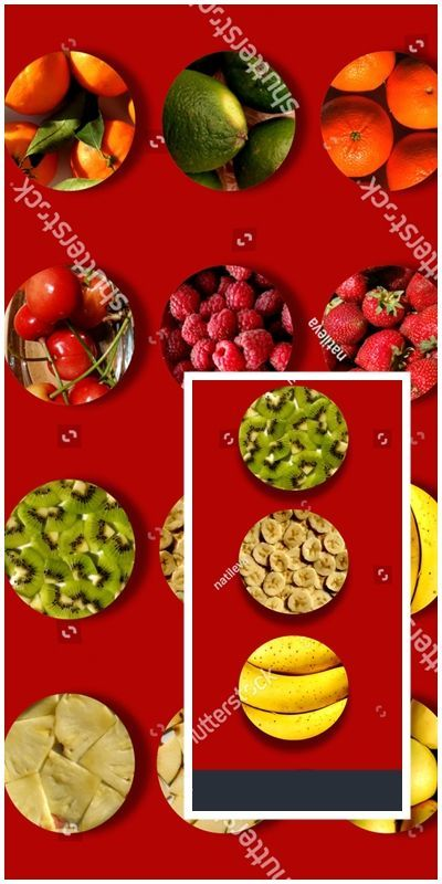 Red Background Full Circles Various Fruity Stock Photo (Edit Now) 621970211