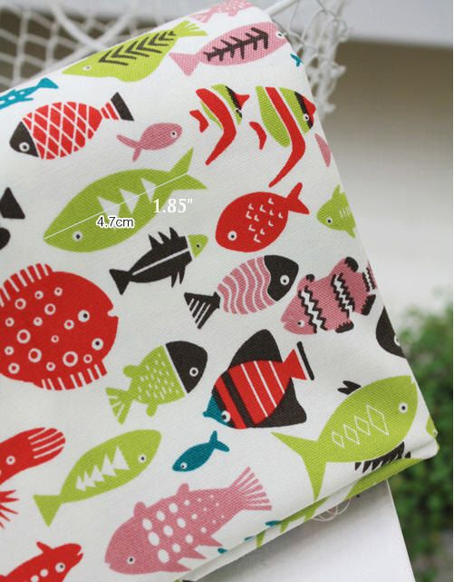 Tropical Fish Oxford Cotton Fabric in Red or Blue per by landofoh, $13.75