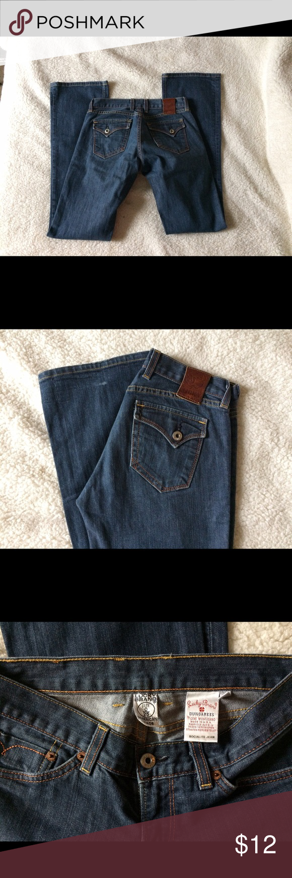 Lucky Brand Dungarees size 0 25. Size 0/25 lucky brand dungarees. Very minimal wear. (2nd photo & 4th photo show the wear)    NO SWAPS! Lucky Brand Jeans Boot Cut