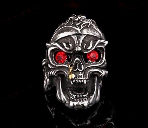 Badass Red Eyes Skull Ring