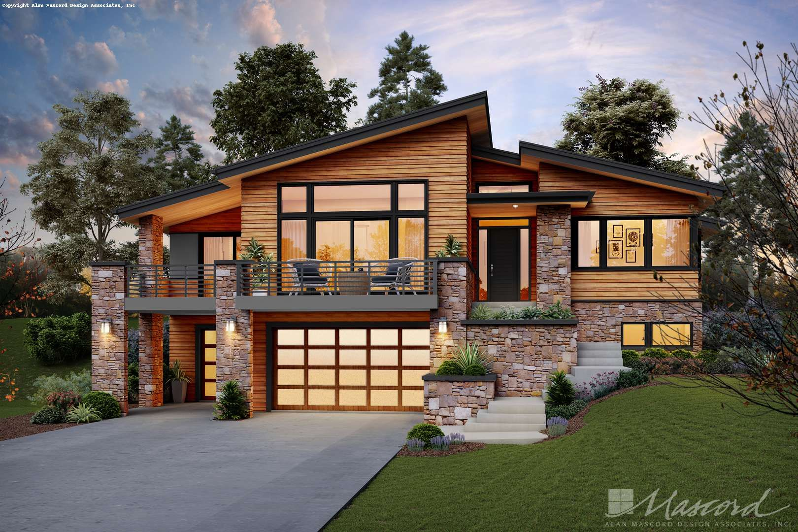 Alan Mascord Design Associates Plan 1220l Front Rendering Modern House Exterior Contemporary House Plans Flat Roof House