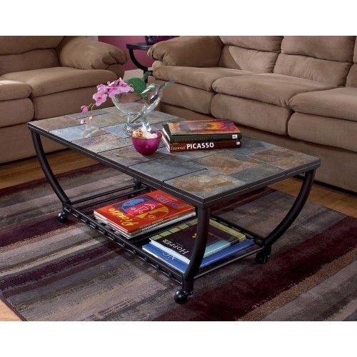 Antigo Cocktail Table With Slate Tiles And Casters With Images