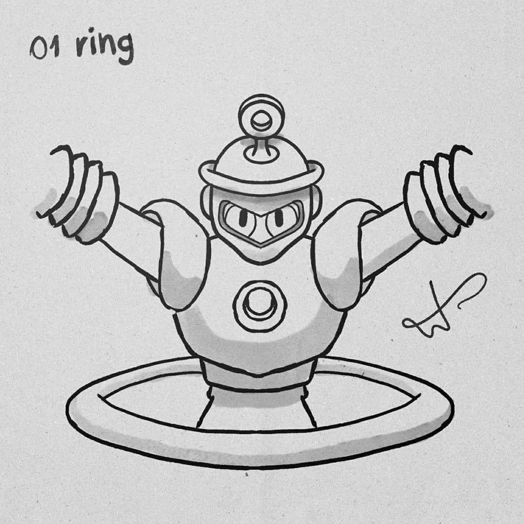 Day 01 Inktober 2019 Ring Man  #inktober2019 #inktober #drawing #cartoon #art #inktober2019