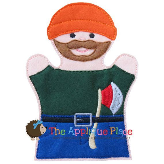Wood Chopper Hand and Finger Puppet In The by TheAppliquePlace, $4.00