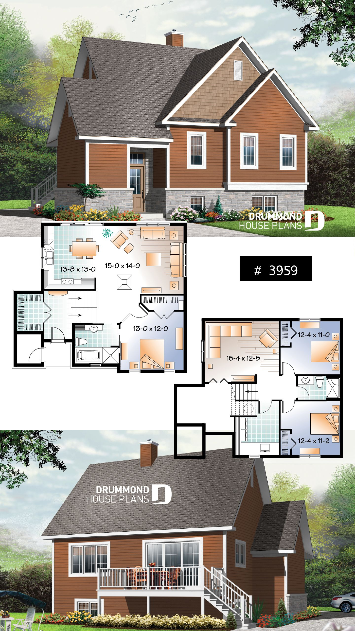 Discover The Plan 3959 Hearthside Which Will Please You For Its 1 2 3 4 Bedrooms And For Its Cottage Chalet Cabin Styles House Plans House Layout Plans Drummond House Plans