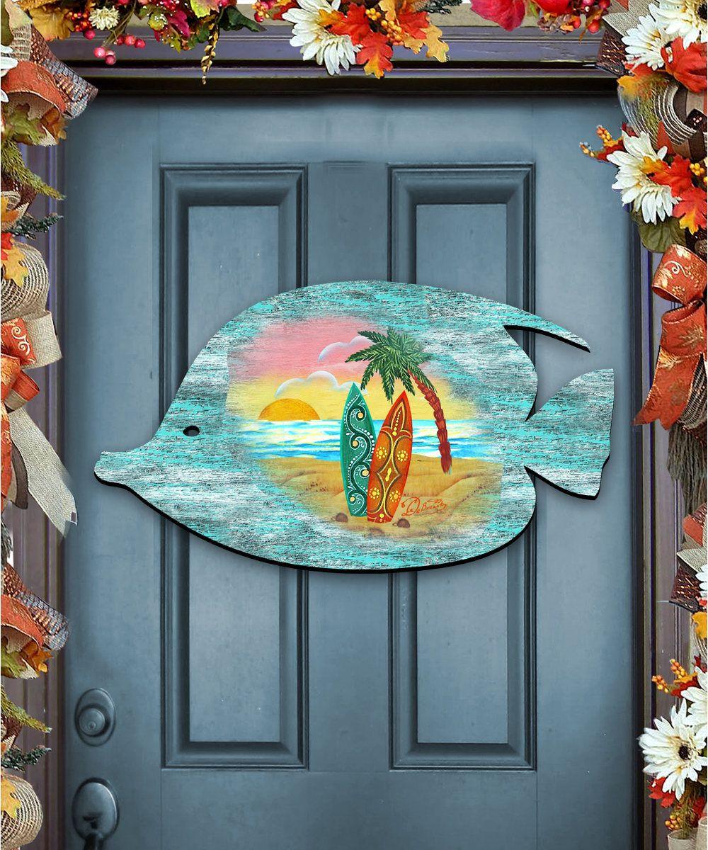 Photo of Beach House decor – Coatsl Art Fish Scenic Coastal Surfboards Palm Tree Sunset Rustic Wooden Door Hanger – Coastal wall art wood #8198527H