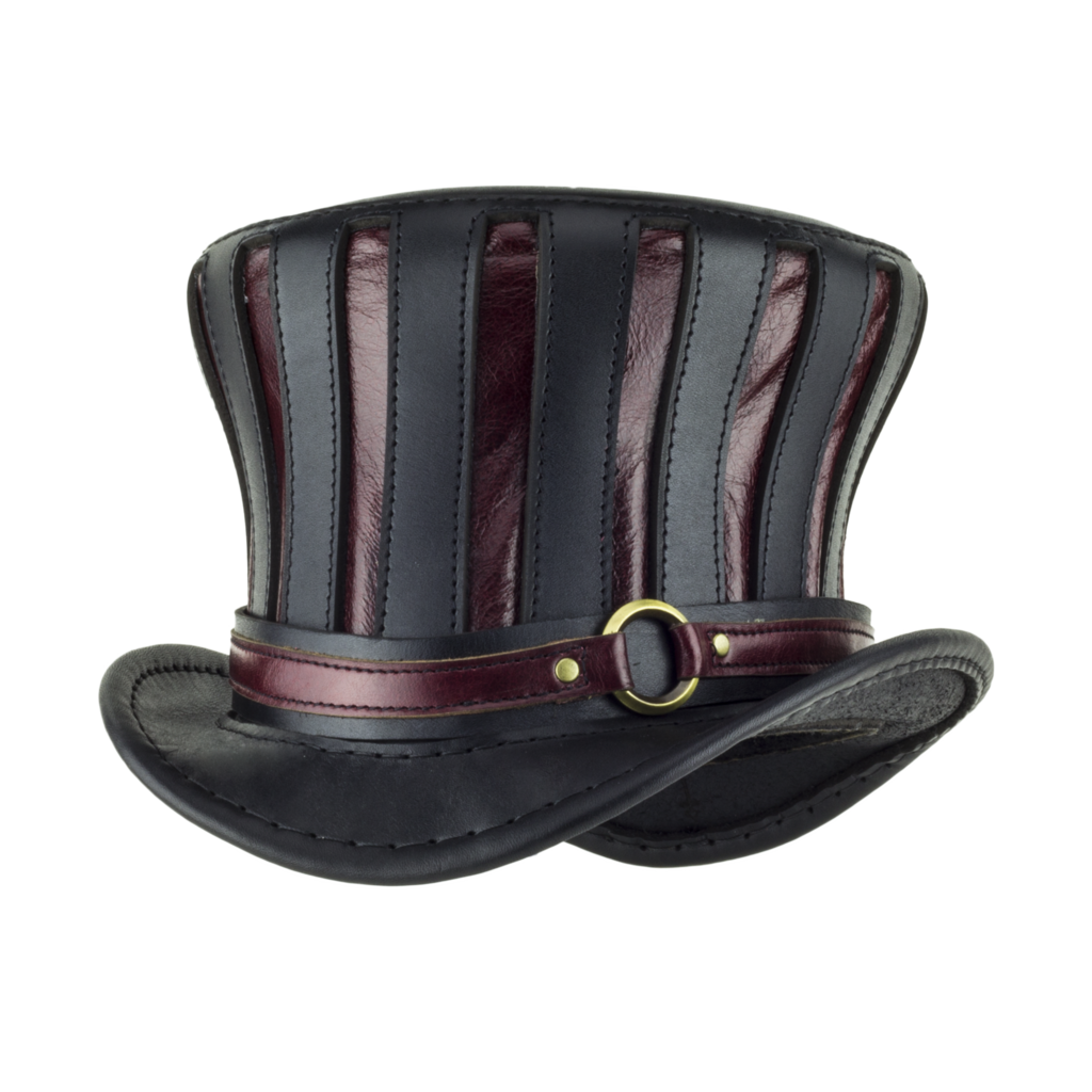 The Red Mad Hatter Leather Top Hat Leather Hats Steampunk Hat