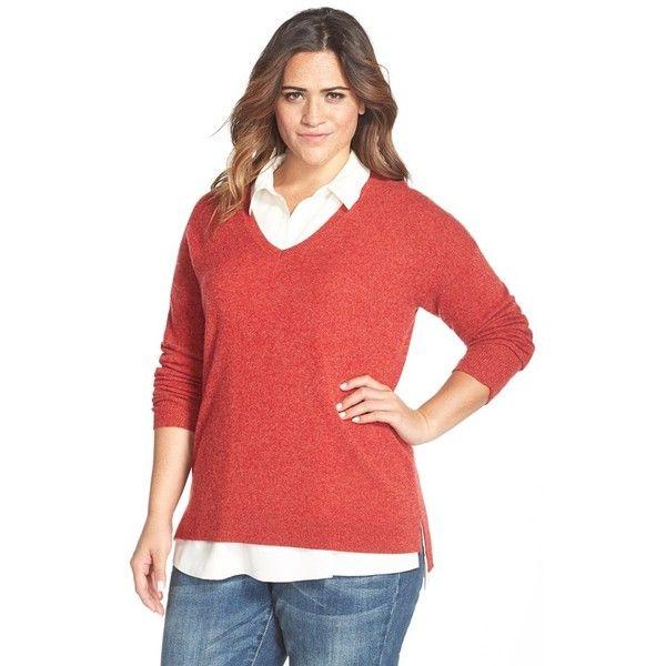 Halogen Drop Shoulder V-Neck Cashmere Sweater ($56) ❤ liked on ...