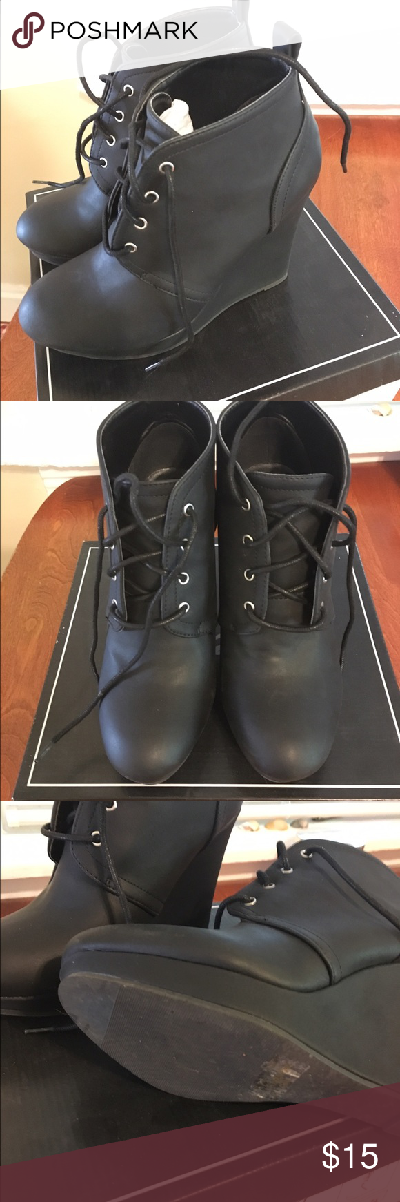 Qupid black faux leather lace up boot Worn once black faux leather lace up tall wedge bootie. Qupid Shoes Ankle Boots & Booties