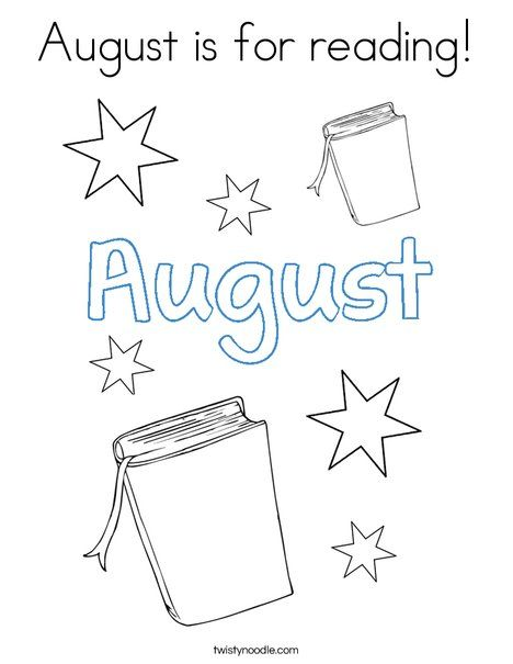 August is for reading Coloring Page - Twisty Noodle | Scuola