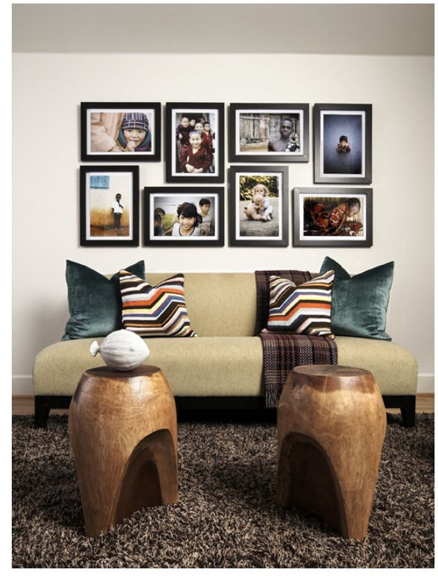Picture frames on the wall becomes the subjective issue to create