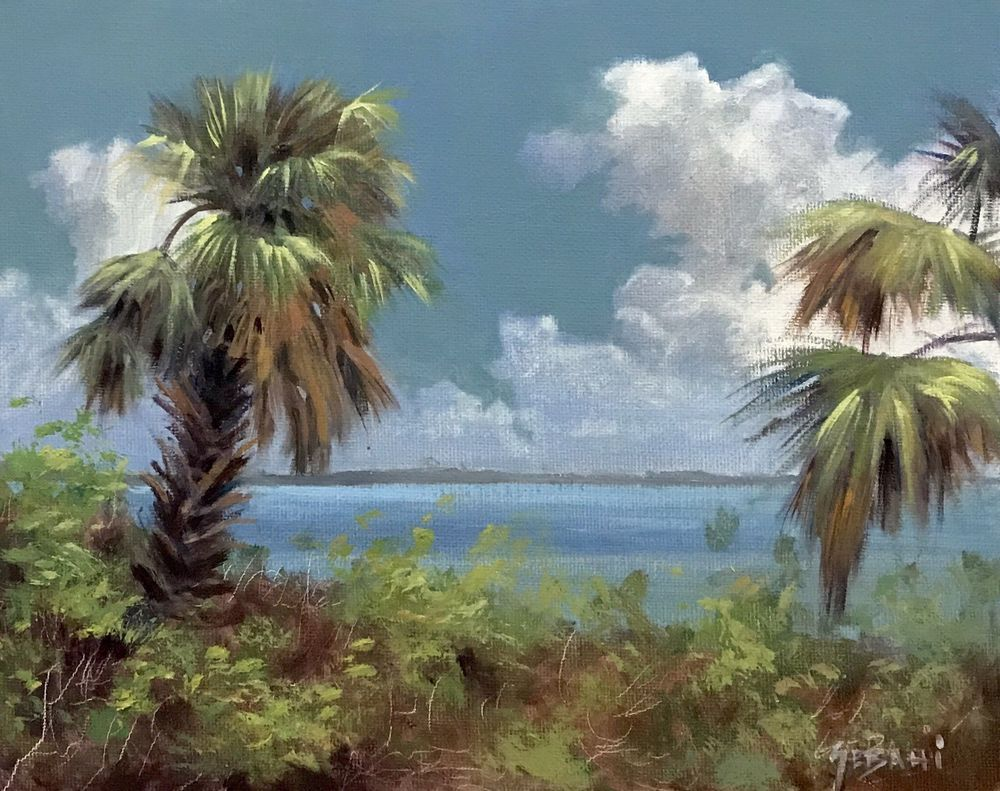 Florida Landscape Painting Original By Karim Gebahi Sunset
