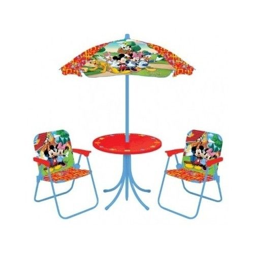 Kids Patio Set Disney Chairs Umbrella Table Washable Indoor Outdoor Red  Backyard  $66.75 SO Cute