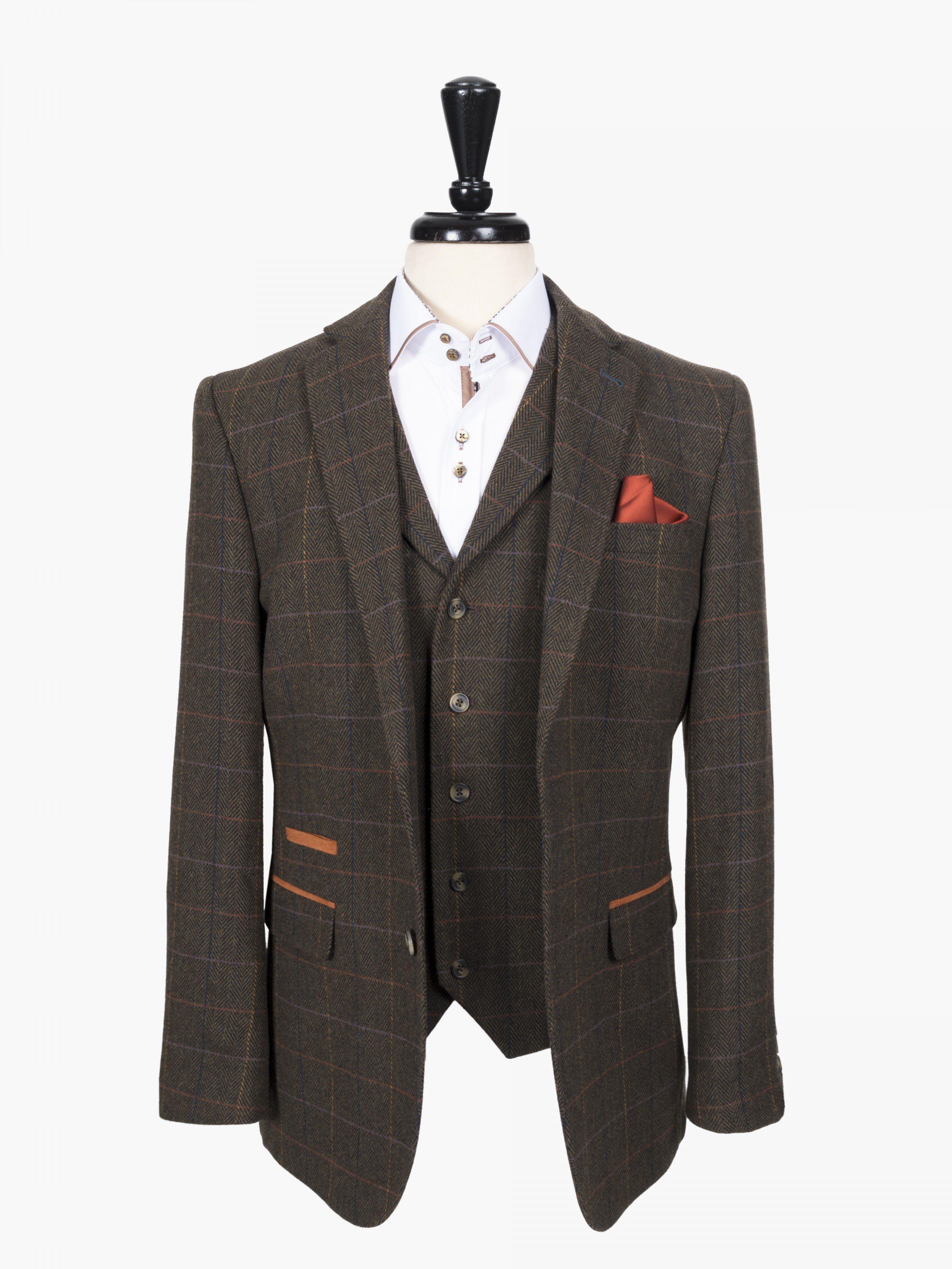 Broadstone Bros Green Check Tweed Look Tailored Blazer