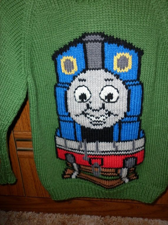 knitting pattern Thomas The Tank Engine jumper  chart