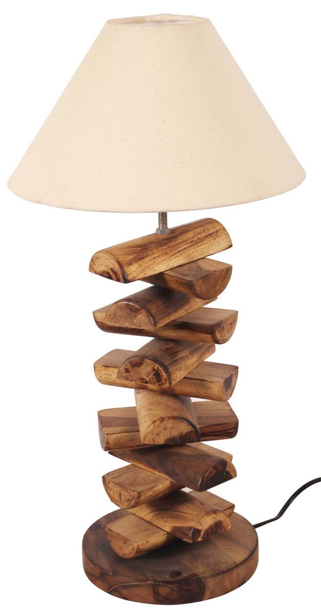 A rustic statement piece the lamp shade offers brilliant display 24 wood log table lamp in mango wood with fabric shade brown cream home dcor buy in bulk wholesale aloadofball Image collections