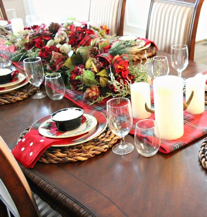 Preppy Plaid Christmas Holiday Table Settings Plaid Table Setting Christmas Table Settings Autumn sunroom at bluestone hill