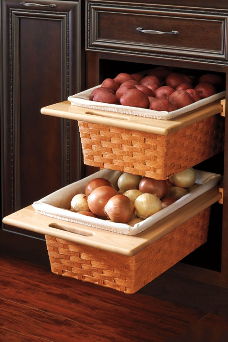 Mounted Woven Baskets Are Perfect For Storing Produce Without Wasting Counter Space Revashelf Kitchen Fall Rev A Shelf Kitchen Decor Kitchen Accessories