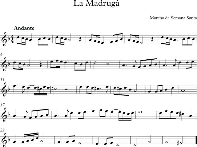 Descubriendo La Musica Partituras Para Flauta Dulce O De Pico La Madruga Marcha De Semana Santa Marchas De Semana Santa Partituras Digitales Partituras