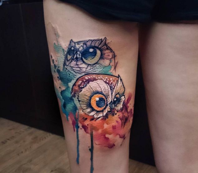 Cute Watercolor Two Owl Tattoo On Thigh Jpg 635 554 Pixels Tattoos For Women Thigh Tattoos Women Tattoos