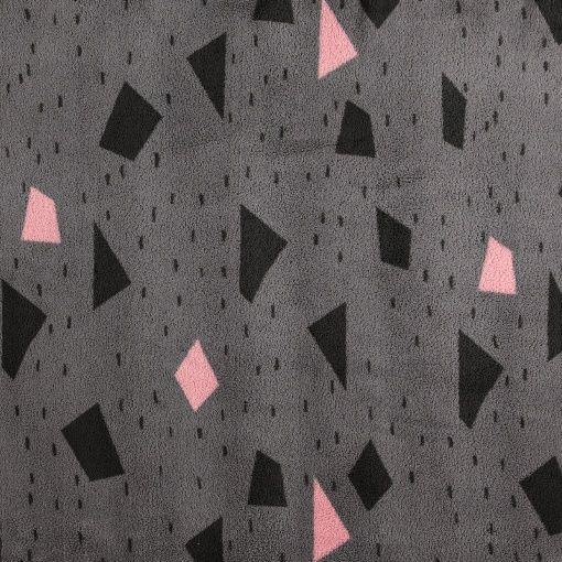 Coral fleece grå m rosa/grå mønster