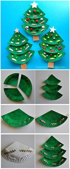 Paper Plate Christmas Tree Craft Qtipartpaperplates Q Tip Art Paper Plates Christmas Cards Kids Large Christmas Cards Christmas Tree Crafts