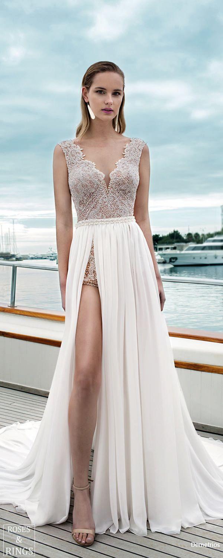 Demetrios Destination Beach Wedding Dresses 2019 Short Lace