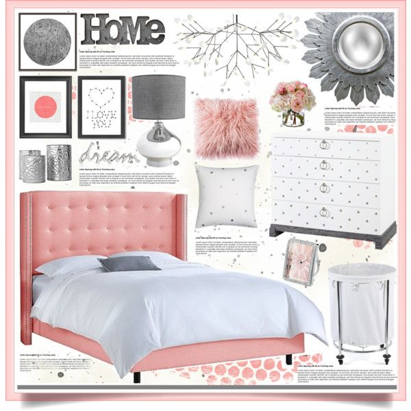 Pink & Grey Bedroom Decor by hmb213 on Polyvore featuring interior ...