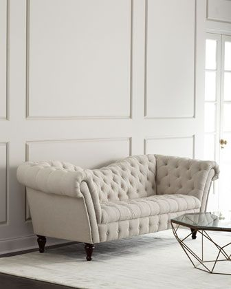 Cream Linen Recamier Sofa Linens, Studio apartment and Settees