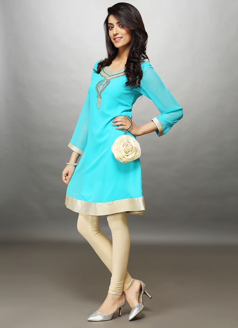 Turquoise Blue Georgette Kurti