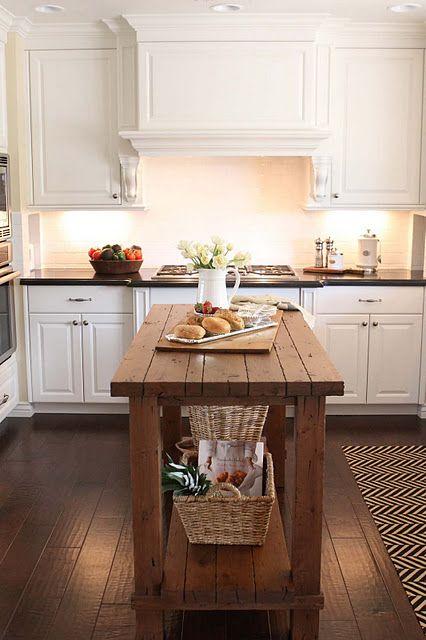 White Kitchen Cabinets W Dark Hardwood Floors Subway Tile Small Island For Smaller E
