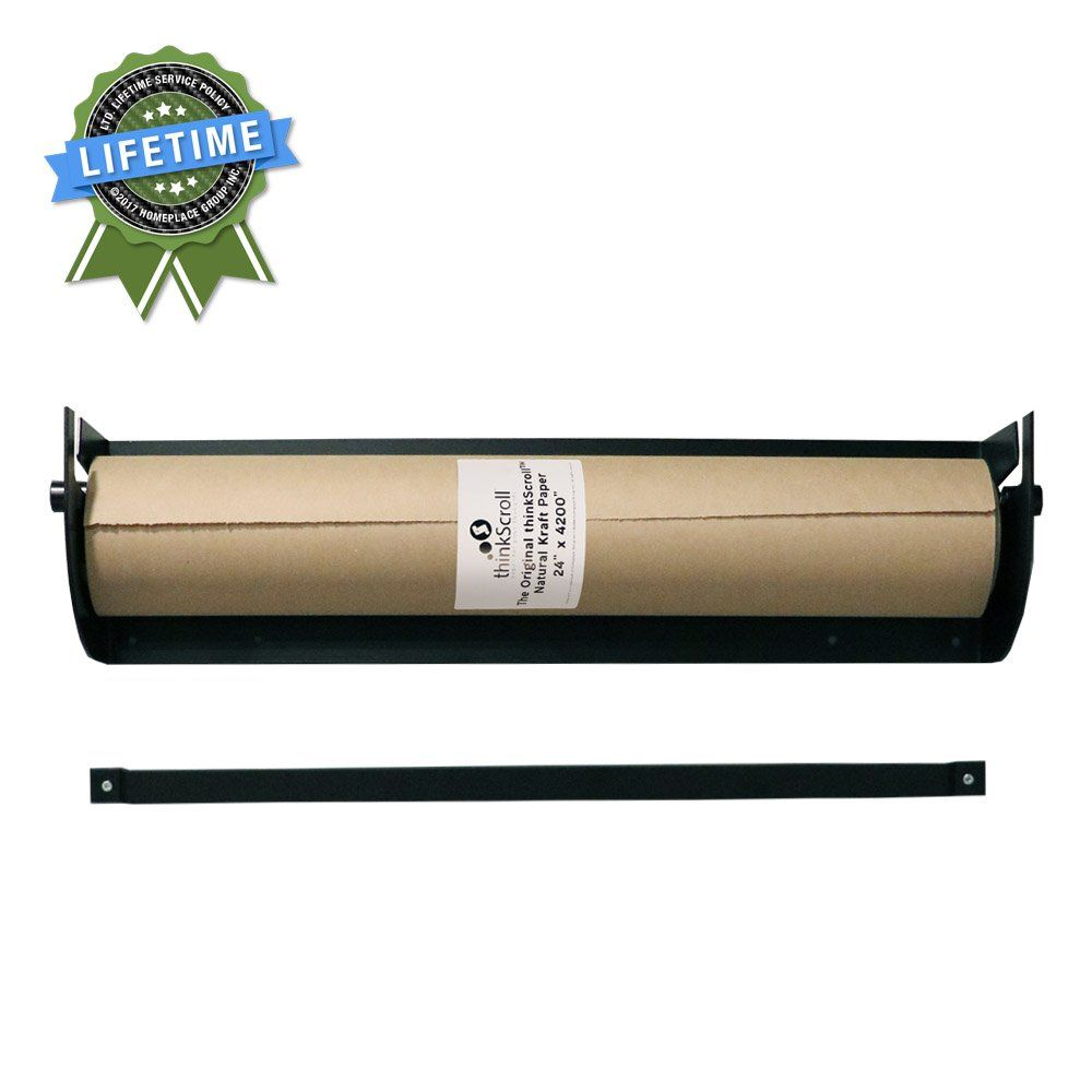 Thinkscroll 24 Wall Mounted Kraft Or Butcher Paper Roll Holder Dispenser Bracket And 350ft Roll Of Kraft Paper Paper Roll Holders Butcher Paper Kraft Paper