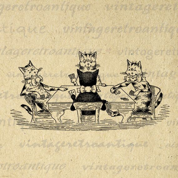 Cats Playing Poker Printable Image Download Kittens Card Game Graphic Digital Vintage Clip Art Jpg Png Eps  HQ 300dpi No.2933