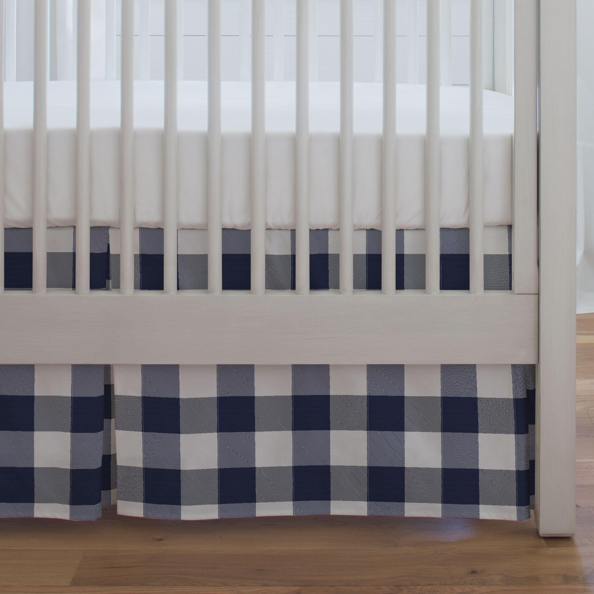 Navy And White Buffalo Check Crib Skirt Single Pleat White Crib Skirt Cribs Crib Skirts