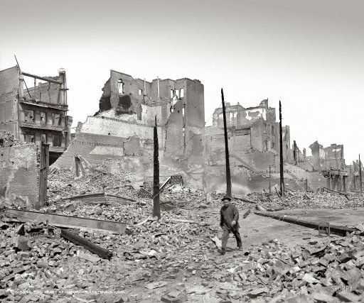 """The heart of Chinatown, San Francisco."" After the earthquake and fire of 1906."