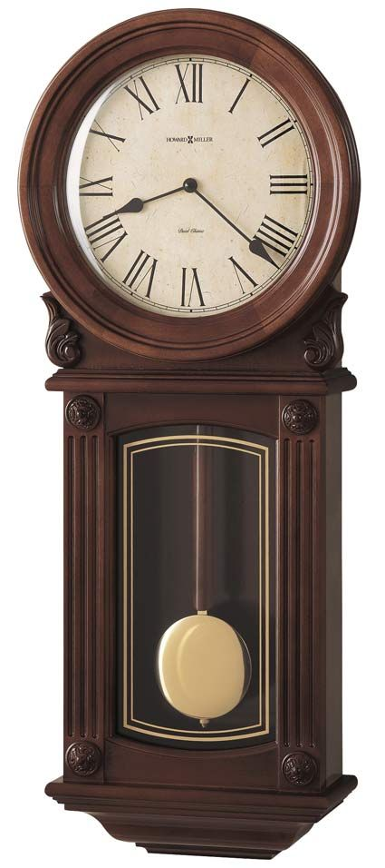 The 77th Anniversary Edition Cherry Wall Clock Has A Pair Of Carved Shell Overlays And A Wood B Howard Miller Wall Clock Chiming Wall Clocks Antique Wall Clock