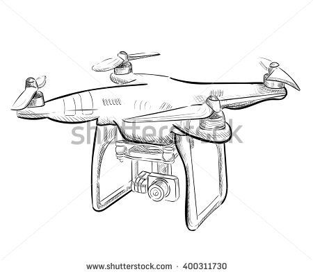 Hand Draw Vector Illustration Aerial Vehicle Quadrocopter Air