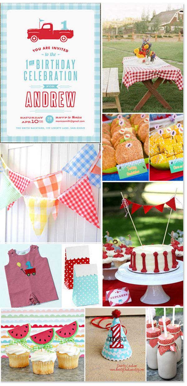 Boys First Birthday Party Picnic Themed Festa Piquenique Festa Picnic Party Fiesta