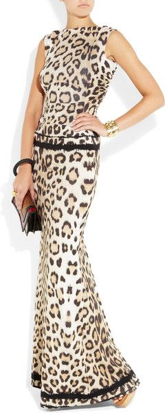 Roberto Cavalli Cutout Leopardprint Stretchjersey Gown in Animal (leopard)   ab4868ca2