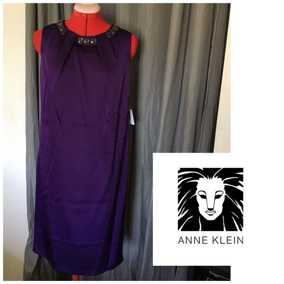 Anne Klein purple shift dress PLEASE READ THE FOLLOWING: -I ship next business day until 12 noon and will listen to REASONABLE offers. This does not mean offering me $5 on a $100 item. -Smoke and pet free - If its $10 or under, I WILL NOT accept offers. Save more by bundling with my bundle discount. -I do not model anything; everything looks different on everyone and I don't wasn't too Jade that. I will put the item on a dress form or find factory pics and provide measurements. -NO HOLDS, NO…