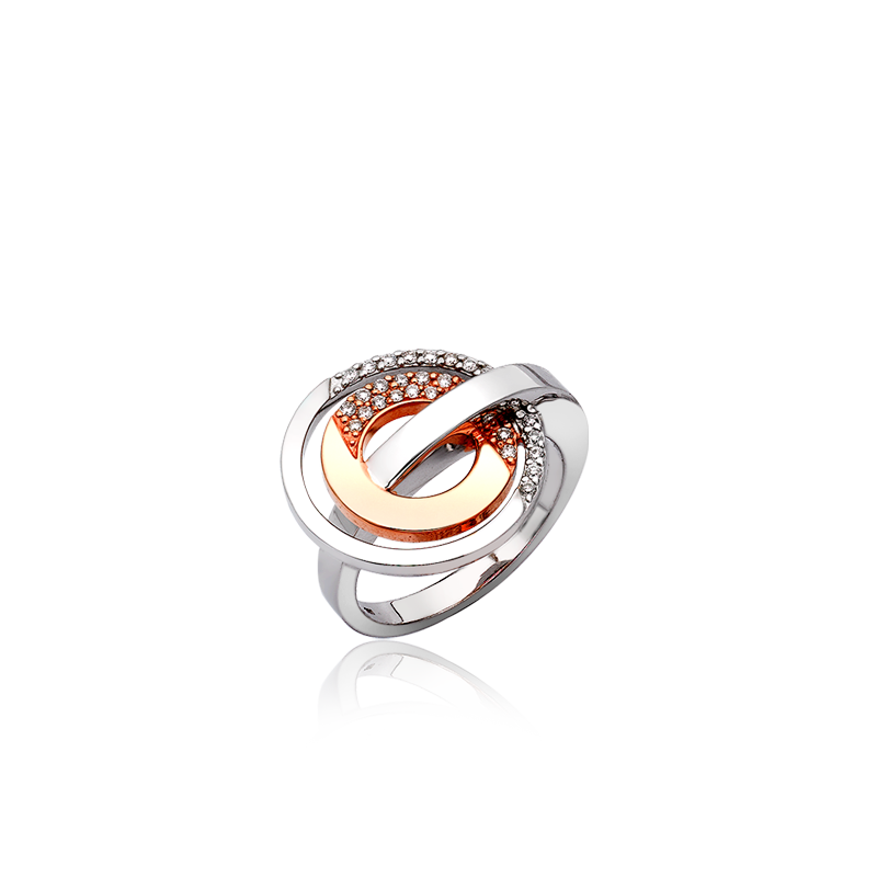 ROSE GOLD DIAMOND RING  Diamond-set double circle ring in 18ct white and rose gold