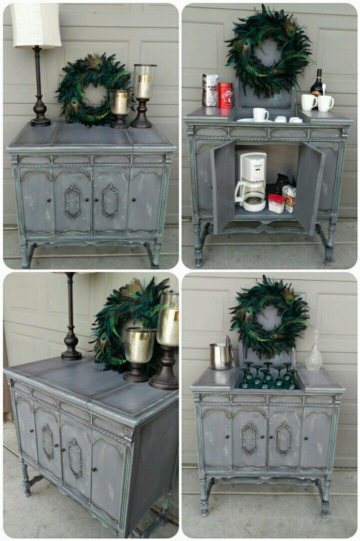 Vintage Photo Cabinet Chalk Painted Custom Gray Mix With Teal Undercoat Showing Through Repurposed