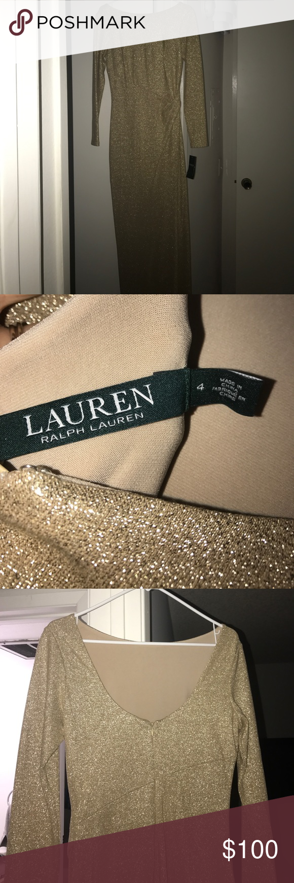 Ralph Lauren gold gown Ralph Lauren gold floor length gown. New with tags on. Open back, slit up to knee on side. Super comfortable and stretchy! Size 4 Ralph Lauren Dresses Prom