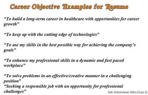 career objective examples for resumes resume template builder goals