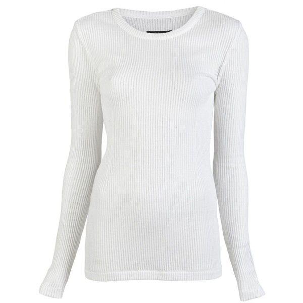 Rag & Bone Ribbed Long Sleeve T-Shirt ($105) ❤ liked on Polyvore