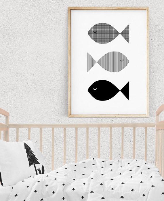 Noir Et Blanc Fish Nursery Print Kids