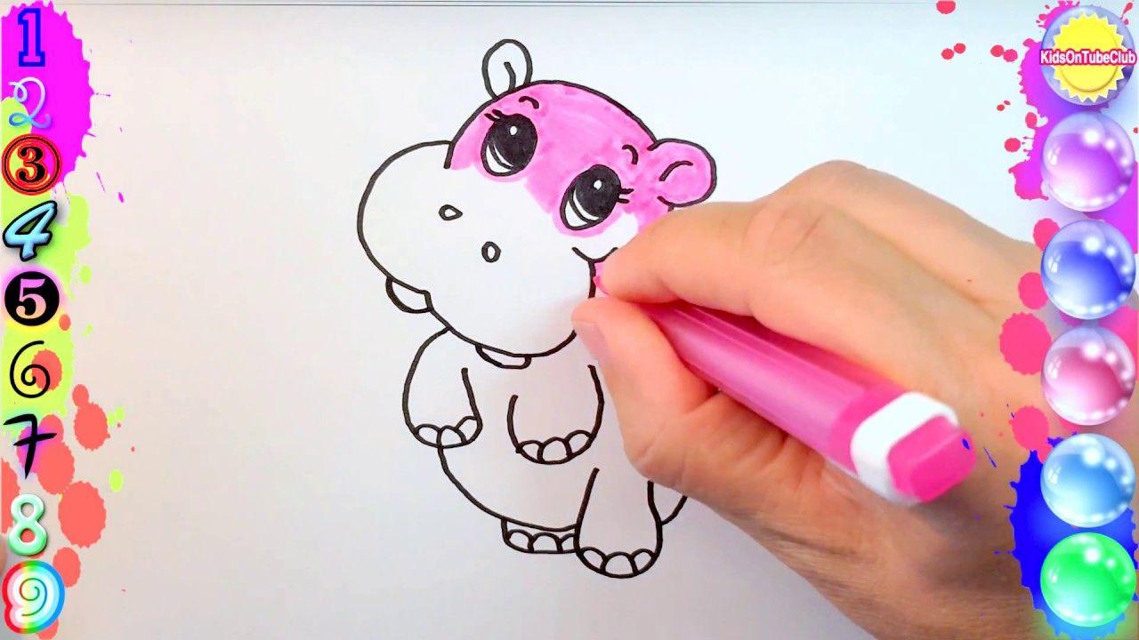 Pintar Y Colorear Hipopotamo Rosa Para Ninos Dibujos Faciles