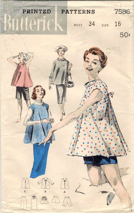 1950s Butterick 7586 Vintage Sewing Pattern Misses Maternity Top ...