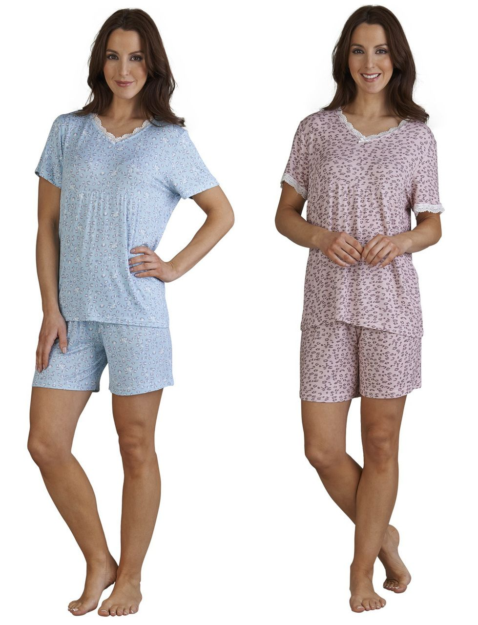 fa43a1fc32 Ladies Slenderella Gaspe Leopard Print Pyjamas Small - XL (Blue or Pink) -  Mill Outlets